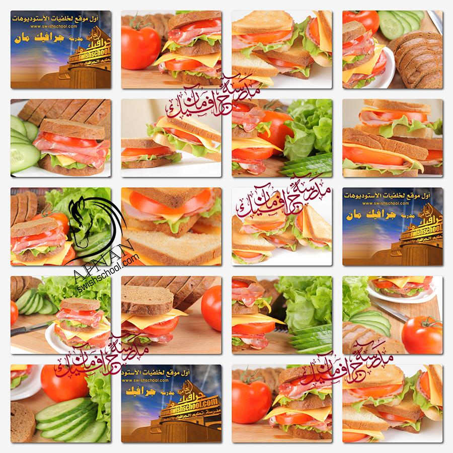 تحميل ستوك فوتو ساندوتشات لحوم مع سلطه خضراء عاليه الجوده للدعايه والاعلان jpg