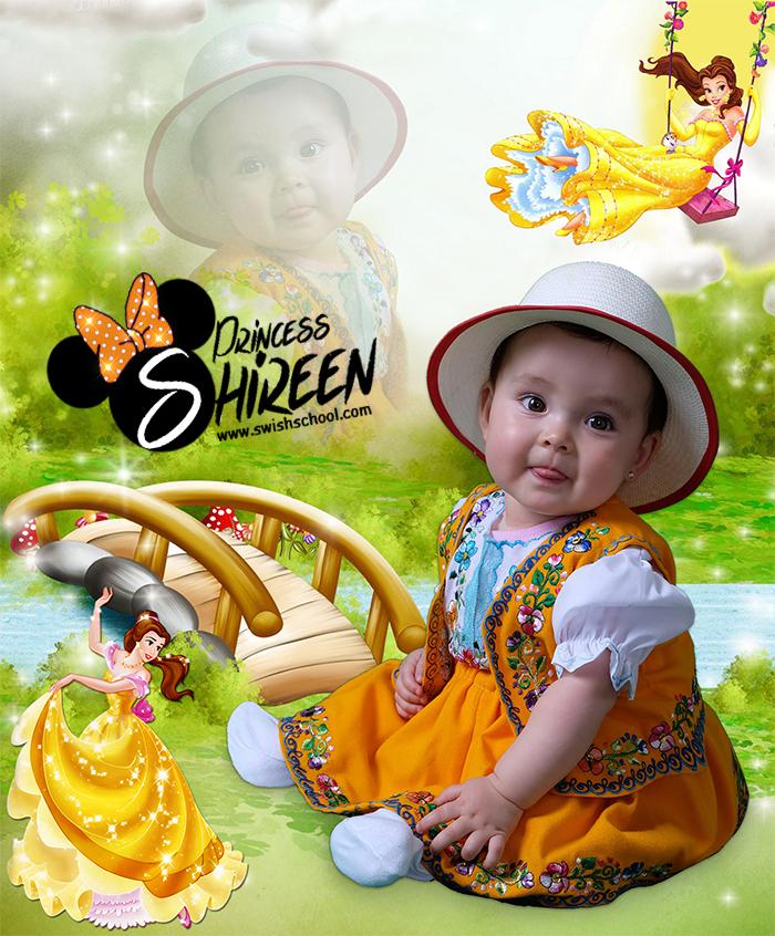 خلفية اطفال psd لاستوديوهات التصوير تصميم Princess Shireen , ملف مفتوح لتصاميم الاطفال لاصحاب الاستويوهات