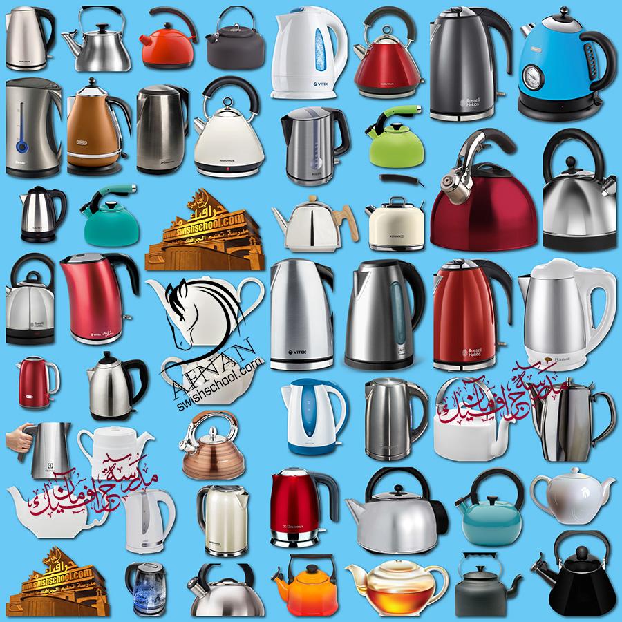 سكرابز غلايات شاي وقهوه باشكال والوان مختلفه بدون خلفيه png