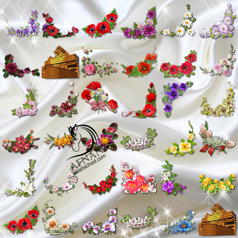 زوايا ورد png - اجمل زوايا وركنات الورد المفرغه للتصميم وتزين الكروت