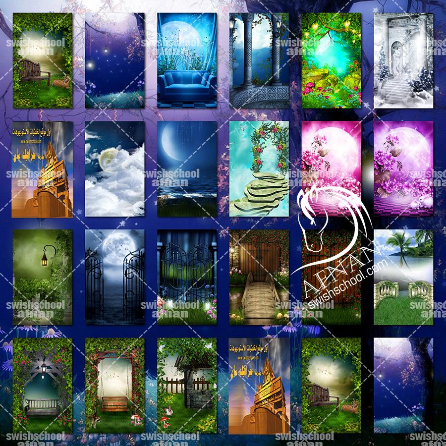 اجمل خلفيات الخيال والجناين والحدائق الساحره عاليه الجوده لتصاميم الاستديوهات jpg