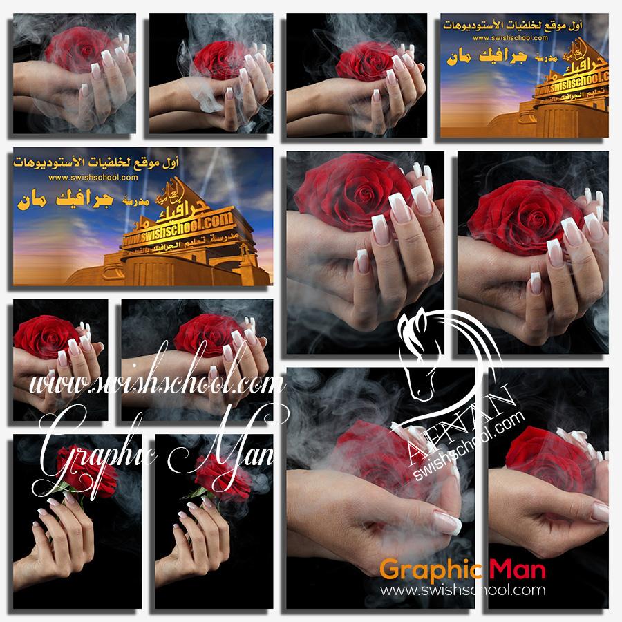 صور ايادي حريمي مع ورد احمر بتاثيرات دخانيه عاليه الجوده للتصميم jpg
