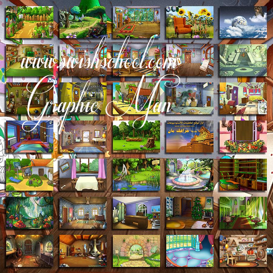 خلفيات تصاميم للاطفال رسومات وحجرات وطبيعه خضراء jpg