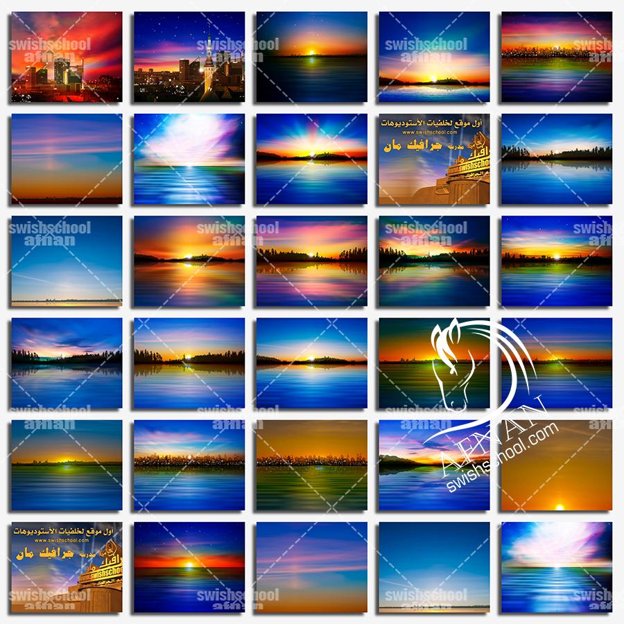 اجمل واروع خلفيات غروب الشمس بتأثيرات لونيه ساحره eps - خلفيات جرافيك عاليه الجوده مبهره jpg