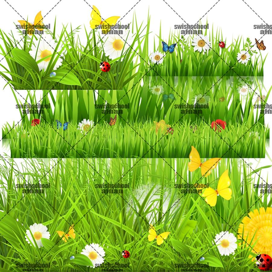 صور مقصوصه اعشاب وفراشات وزرع اخضر لتصاميم الاطفال psd