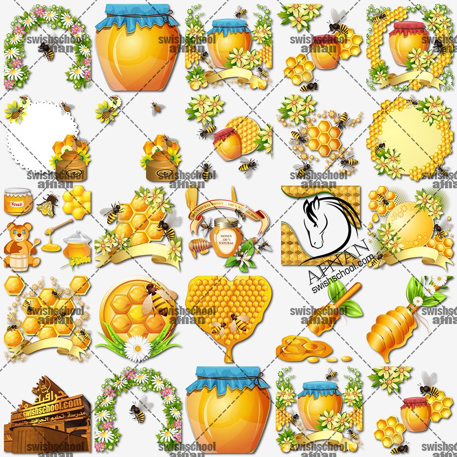 صورعسل النحل لتصاميم الاستكرات والملصقات على برطمنات العسل للدعايه  png