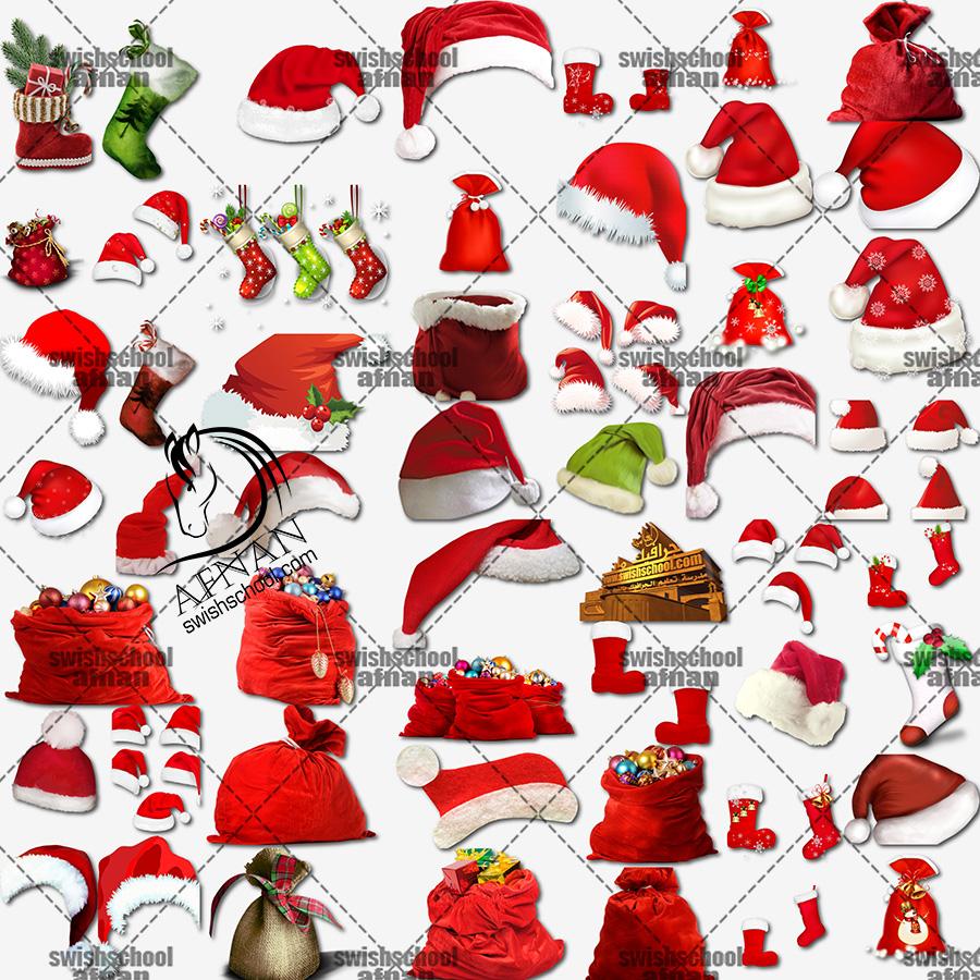 سكرابز قبعات وجوارب وحقائب بابا نويل لتصاميم العام الجديد png