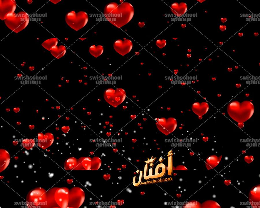خلفيات فيديو قلوب حمراء متحركه على خلفيه سوداء footage video background