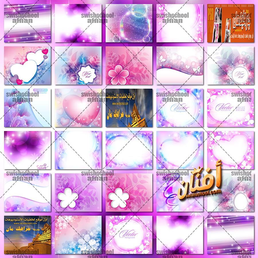 فيكتور وخلفيات مع ورد وفراشات eps -jpg - اجمل خلفيات التصميم بالوان الورد عاليه الجوده