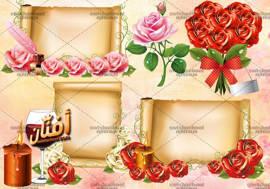 سكرابز اوراق رول رومانسيه مع الورد عاليه الجوده للفوتوشوب psd