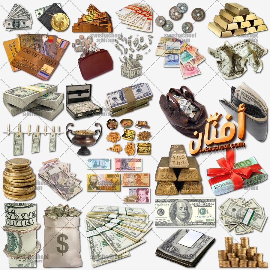 اموال ونقود وسبايك ذهب ودولارات مقصوصه بدون خلفيه للتصميم png
