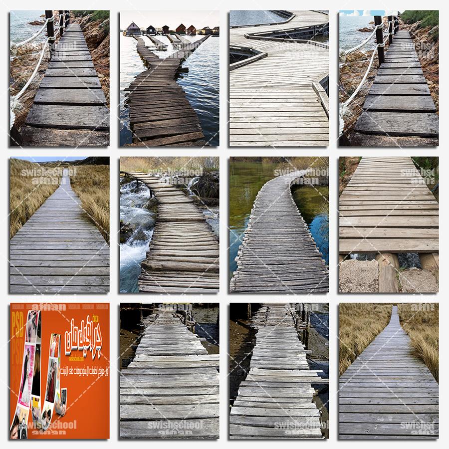 خلفيات جسور خشبيه لتصاميم الدمج في الفوتوشوب jpg