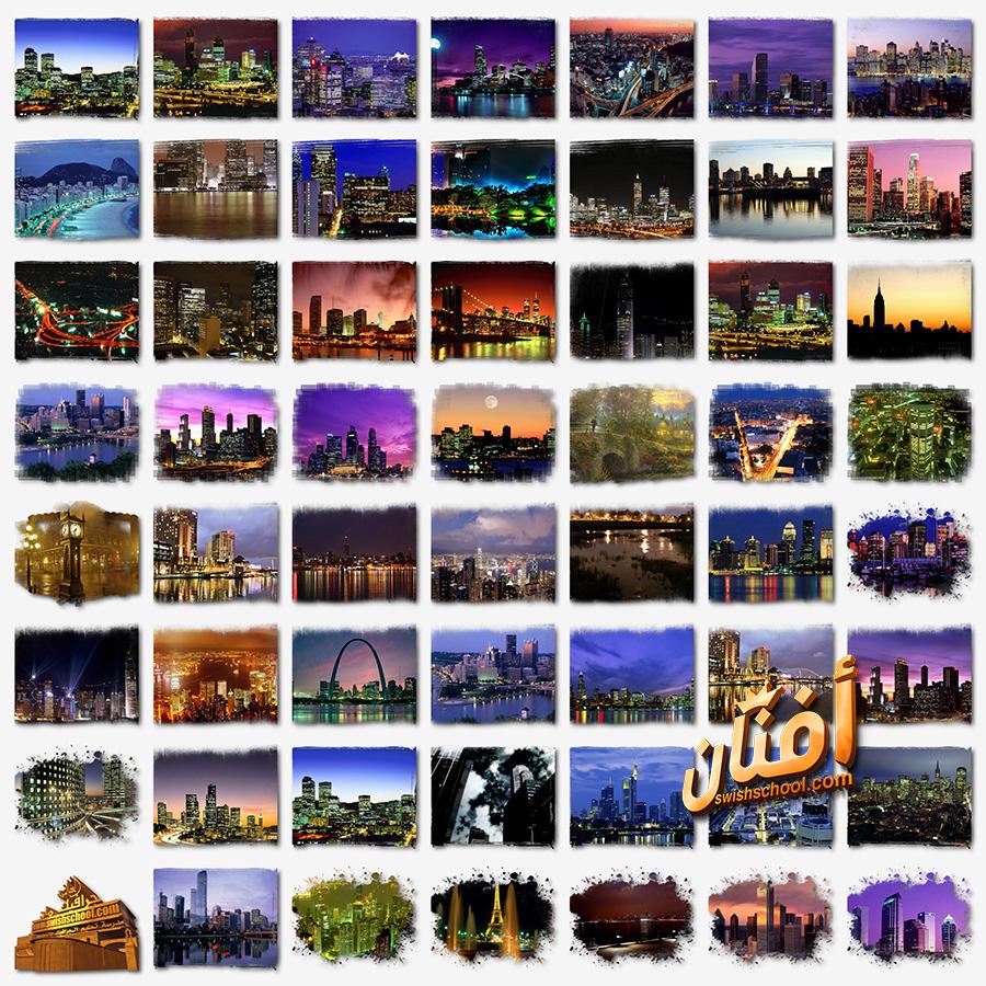 كليب ارت لوحات اضواء المدن الساحره في الليل png - صور جرافيك ليليه بدون خلفيه png