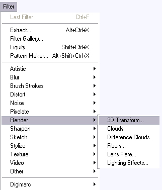 فلتر 3D Transform للفوتوشوب