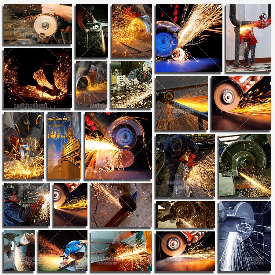 صور تقطيع حديد بالصاروخ - مصانع حديد وصلب - شرار النار بتقطيع الحديد