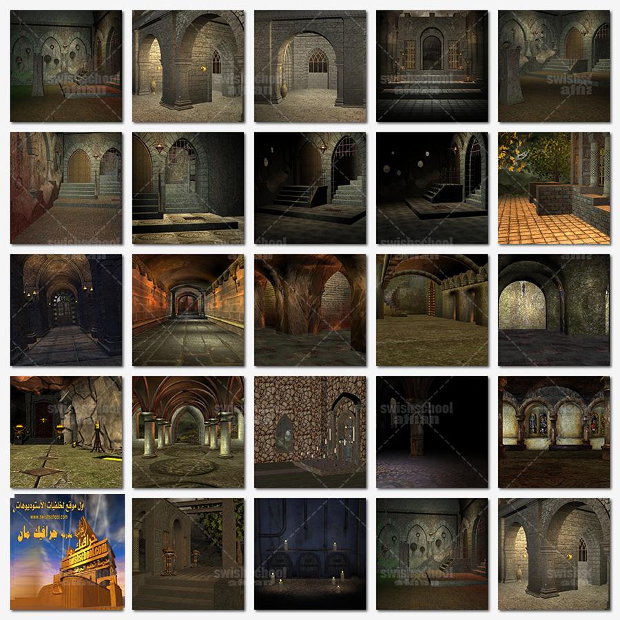خلفيات حجرات وممرات ومداخل حجريه 3d للفوتوشوب والاستديوهات jpg
