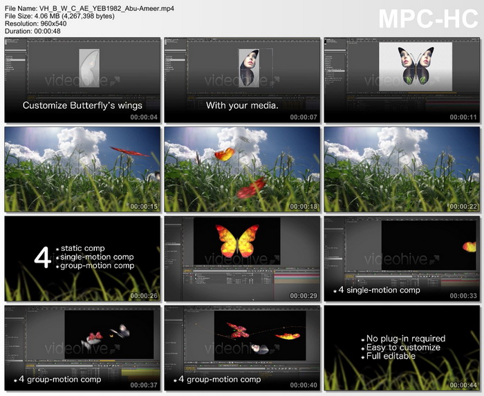 مشروع افتر افيكتس اضافة صورتك على اجنحة الفراش, قالب افتر افيكتس اجنحة الفراشات, Butterfly Wings Creator