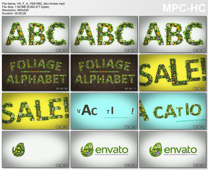 مشروع افتر افيكتس زهور بشكل حروف انجليزية, قالب افتر افيكتس ورود بشكل حروف انجليزية, ABC Nature
