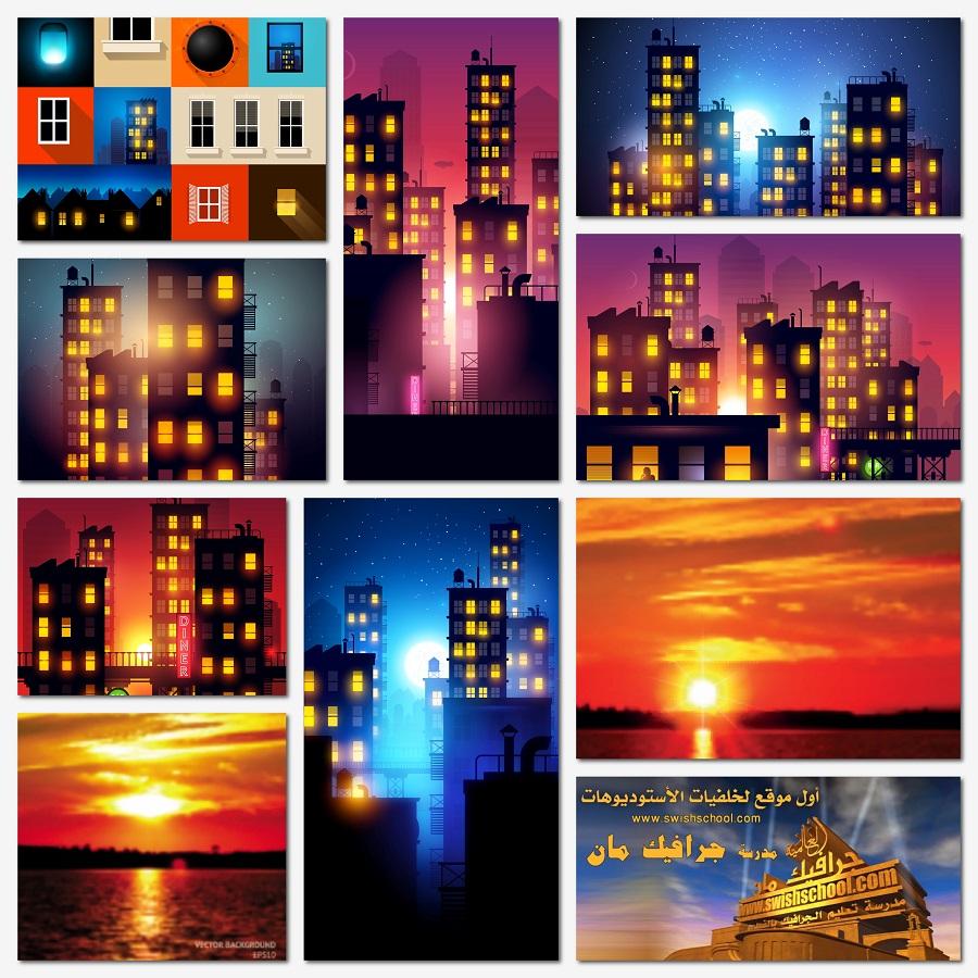 خلفيات وفيكتور مدن ليليه eps - فيكتور جرافيك غروب الشمس الساحر للتصميم