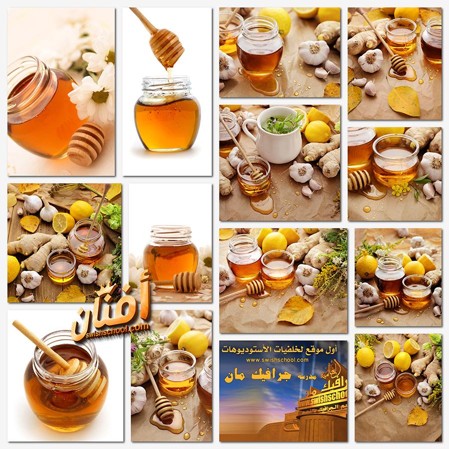 ستوك فوتو عسل نحل و زنجبيل عالي الجوده للدعايه والاعلان jpg