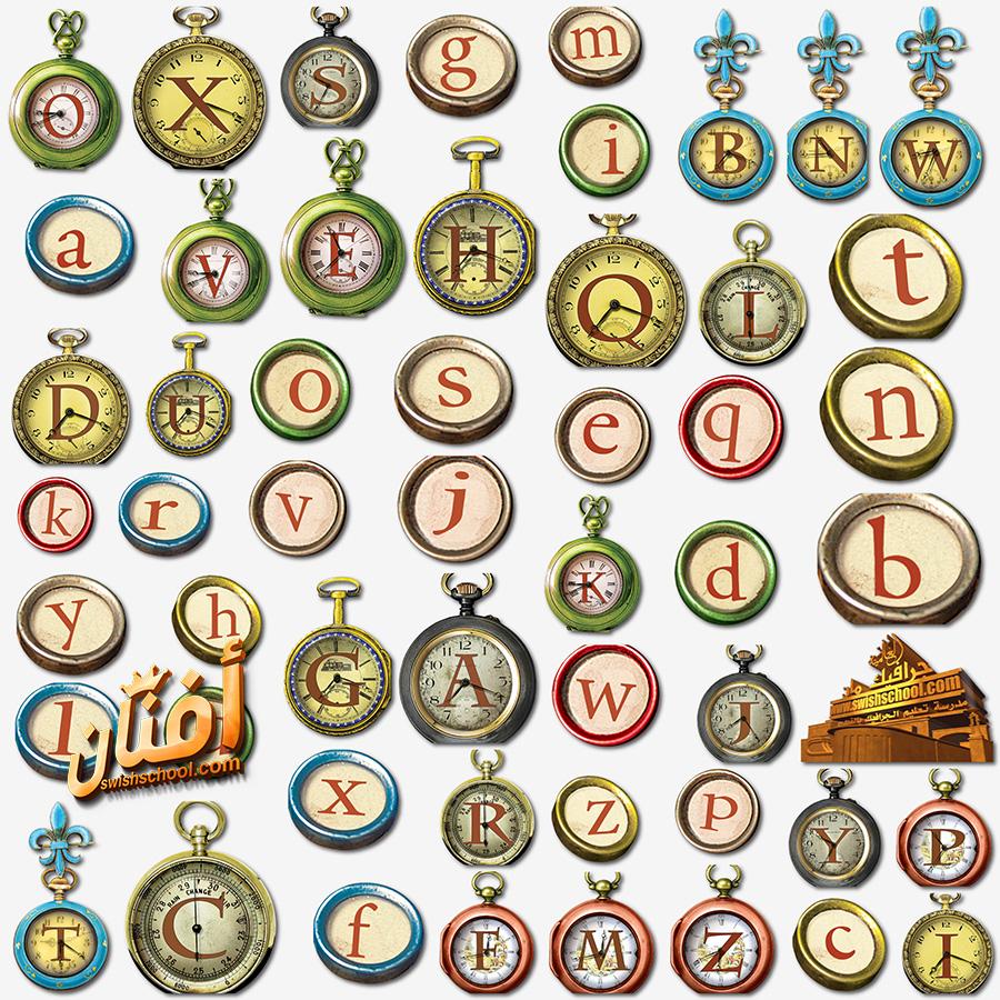 سكرابز حروف انجليزي داخل ساعات باشكال مختلفه png