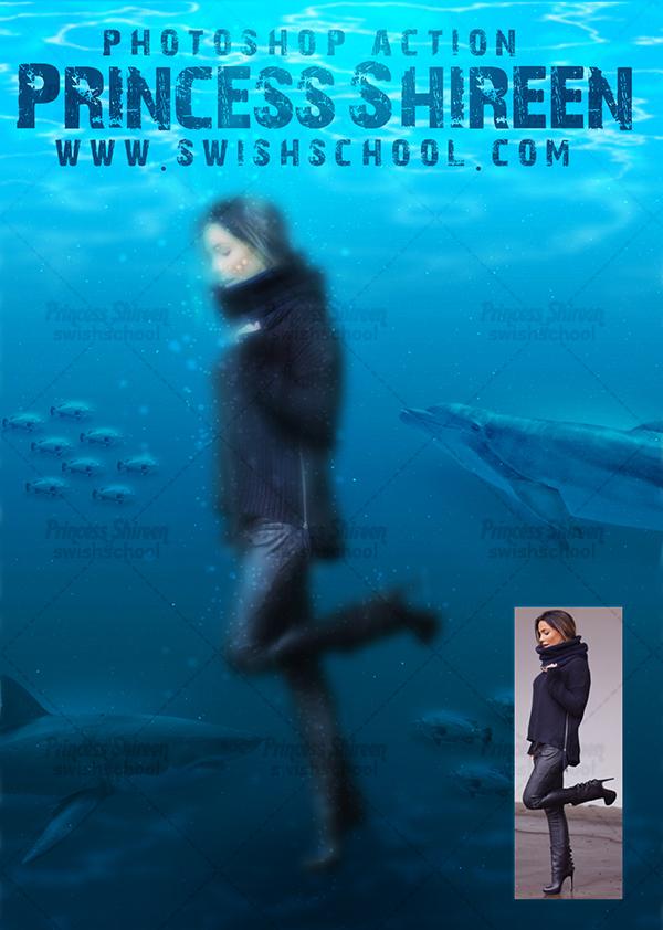 اكشن احترافى لدمج الصورة فى قاع البحر مع اسماك متنوعه جميلة , أحدث أكشنات الفوتوشوب