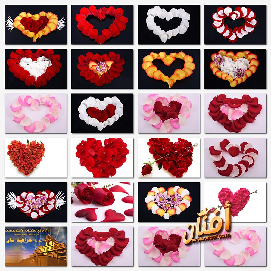 خلفيات فوتوشوب قلوب ورد رومانسيه للتصميم jpg