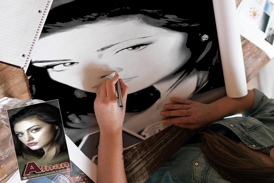موك اب تحويل الصور لرسمه يد psd mockup