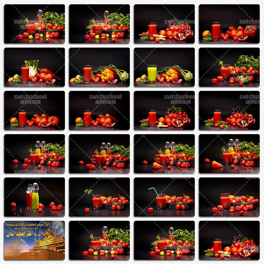 ستوك فوتو عصير طماطم , خضروات عاليه الجوده بخلفيه سوداء للدعايه والاعلان jpg