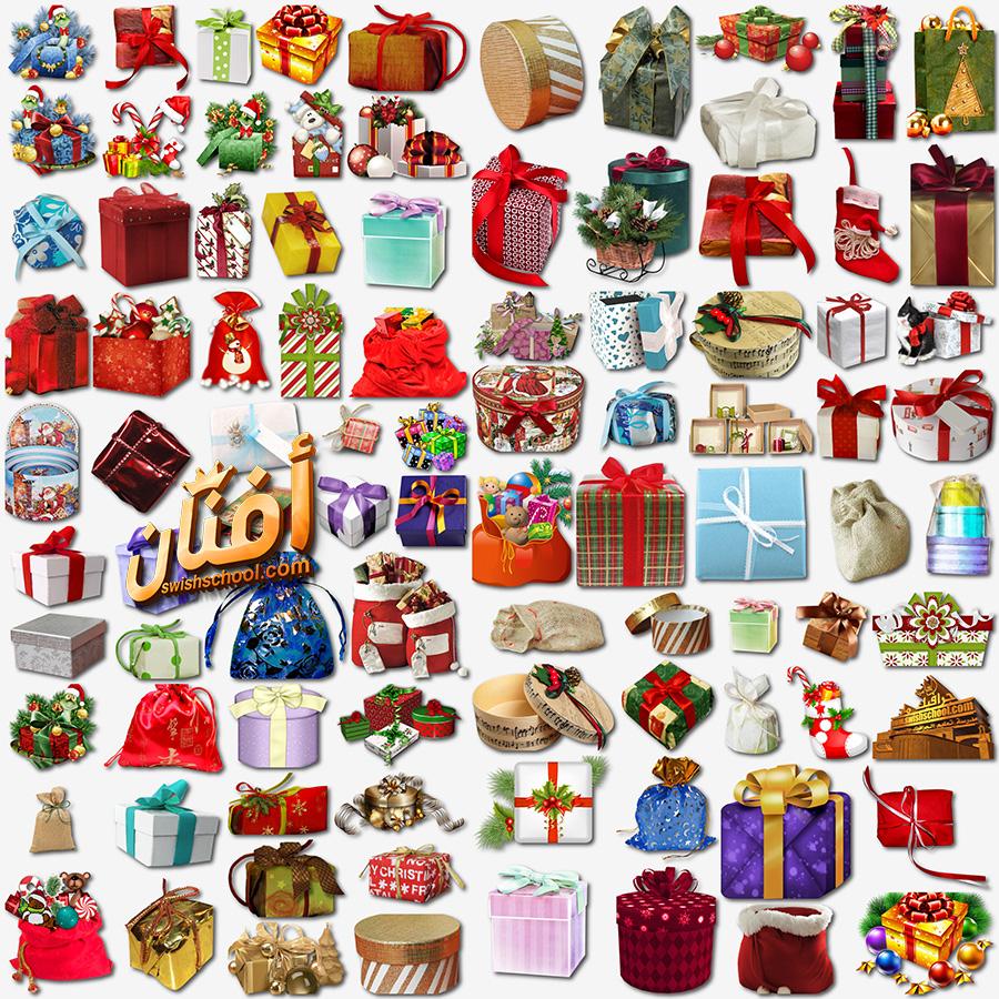 سكرابز علب هدايا الكريسماس لتصاميم الفوتوشوب والعام الجديد png