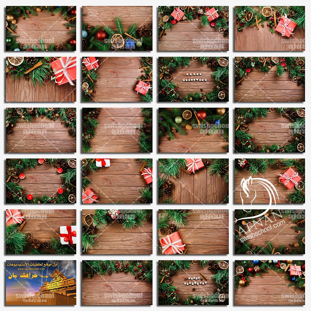 خلفيات تصاميم الكريسماس على خشب بدقه عاليه حجم كبير - الجزء الثاني
