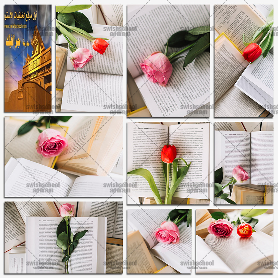 تحميل ستوك فوتو ورد داخل كتاب عالي الجوده للتصاميم الرومانسيه jpg