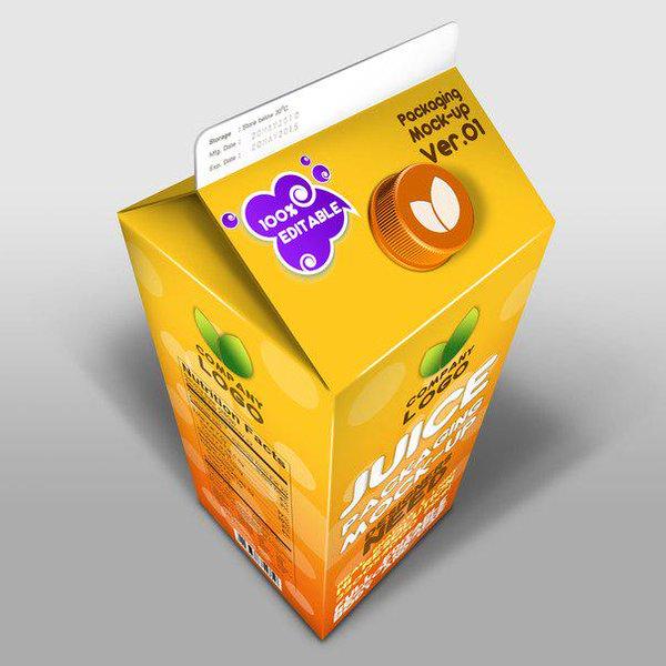 Juice Paper mockup www.swishschool 1 موك اب علبه عصير ورقيه بغطاء بلاستيك psd