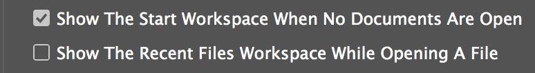 اليستريتور ورك سبيس 2 الغاء شاشه البدايه Start workspace في الفوتوشوب