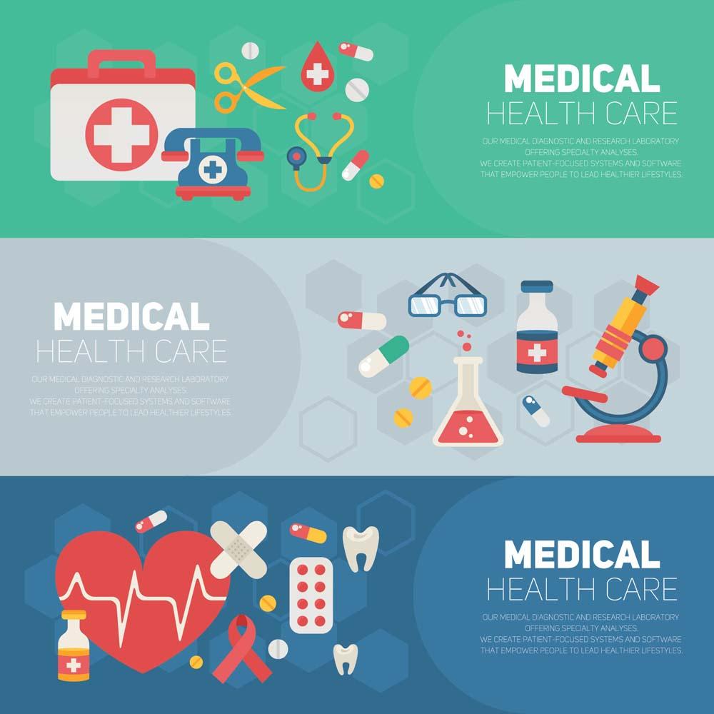 flat medical banners 8 كفرات فيس بوك و تويتر للاطباء