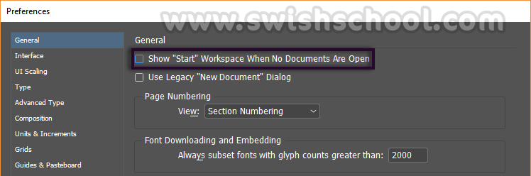 start preferences InDesign الغاء شاشه البدايه Start workspace في الفوتوشوب