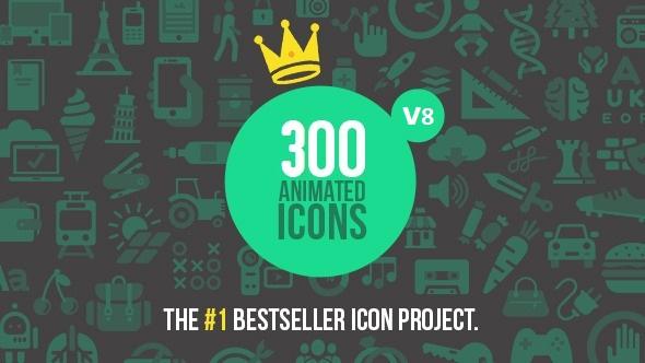 300 Animated Icons تحميل 300 ايقونه متحركه لبرنامج افترافيكت