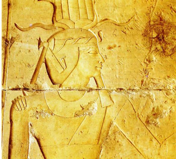 Le pharaon Touthmosis III et Amon Deir el Bahari XVIIIè Dynastie Egypte Egypte Antique Le pharaon Touthmosis III et Amon, Deir el Bahari,  XVIIIè Dynastie Egypte, Egypte Antique