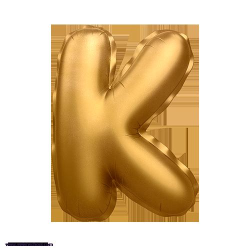 K 3D Alphabet Foil Balloon in PNG حروف بالونات الهيليوم كامله