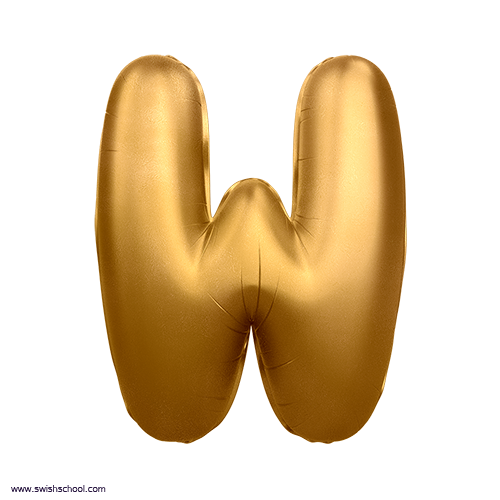 W 3D Alphabet Foil Balloon in PNG حروف بالونات الهيليوم كامله