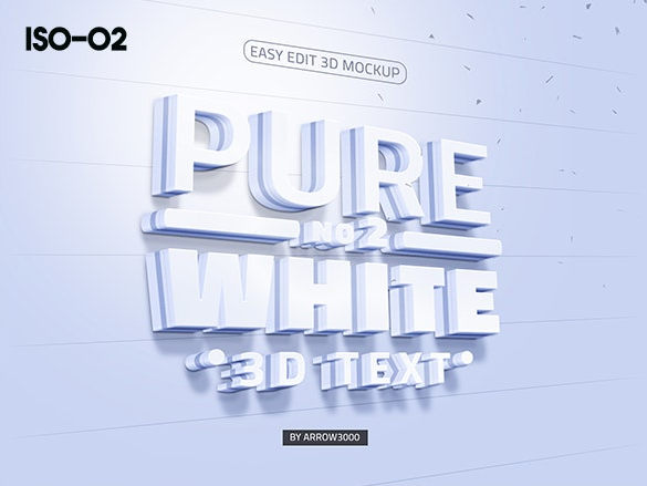 3D text logo mock up 7 موك اب نص ثلاثي الابعاد 3D text logo mock up