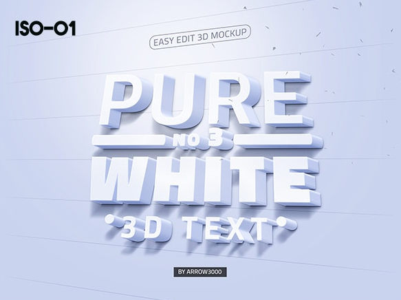 3D text logo mock up 8 موك اب نص ثلاثي الابعاد 3D text logo mock up