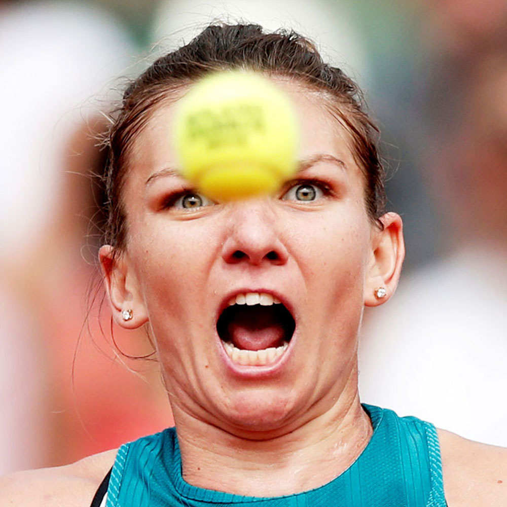 Romanian tennis player Simona Halep is caught in a not so flattering predicament. That tennis ball is heading straight to her noggin and we aren't sure she had time to dodge it. أغرب صور رياضيه في الوقت المناسب