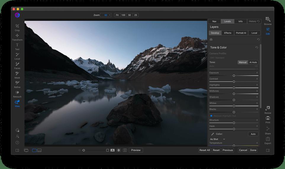 develop before فلتر تحسين الصور العملاق ON1 Photo RAW