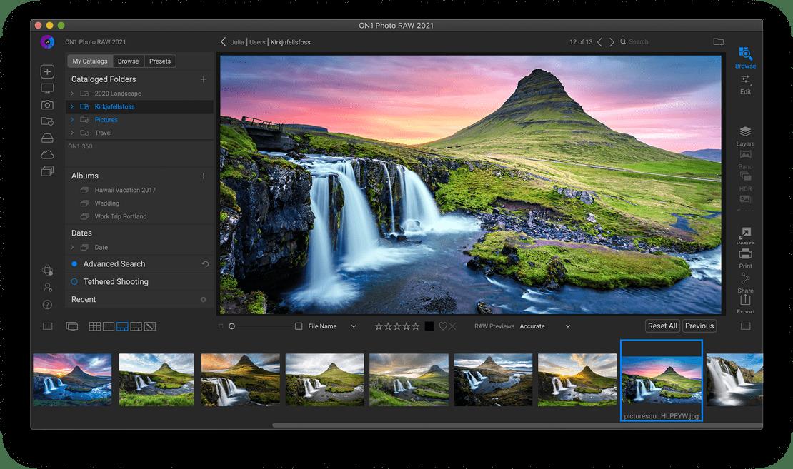 organize فلتر تحسين الصور العملاق ON1 Photo RAW